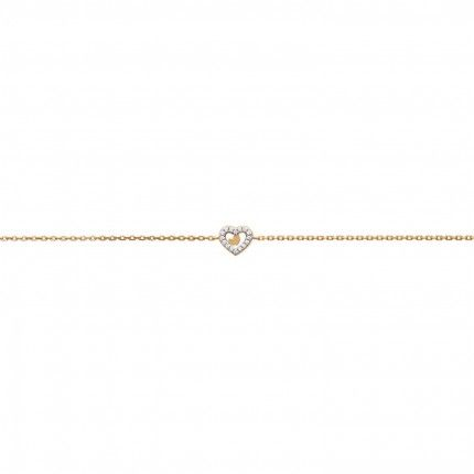 Gold Plated Heart Bracelet with Zirconia