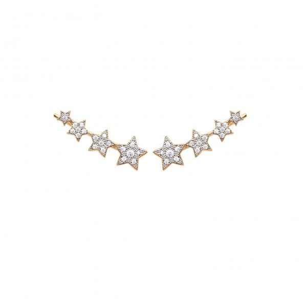 Boucles d'Oreilles étoiles Zirconium Plaqué Or