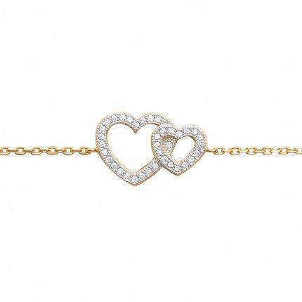 Gold Plated Hearts Bracelet Whith Zirconium