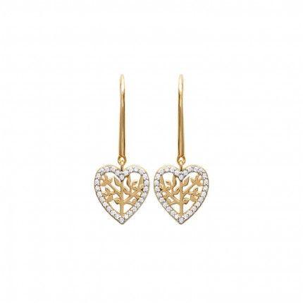 Boucles d'Oreilles Coeur avec Arbre de Vie et Zirconium Plaqué Or