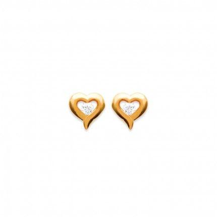 Boucles d?Oreilles Coeur avec Zirconium Plaqué Or