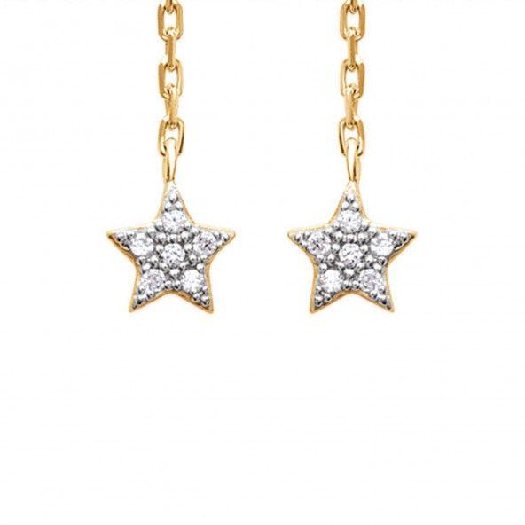 Boucles d'Oreilles Chaine Étoile avec Zirconium Plaqué Or
