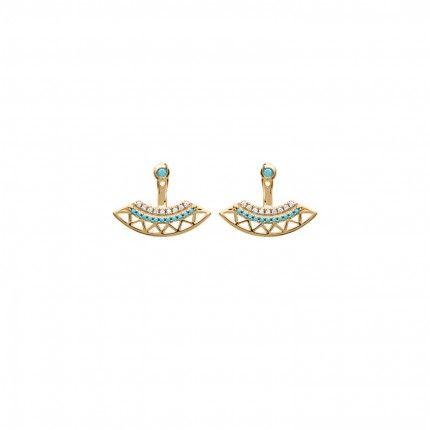 Boucles d'Oreilles Zirconium Turquoise Plaqué Or
