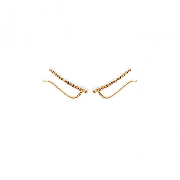 Gold Plated Ear Contour Earrings with Zirconium