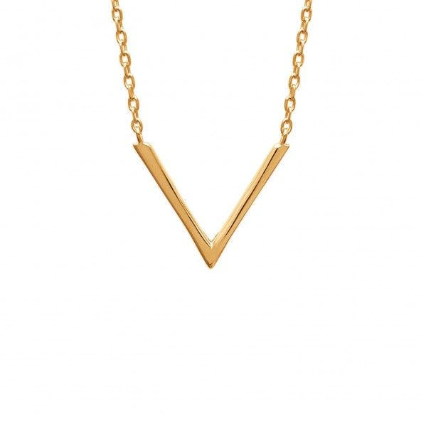 """Gold Plated Necklace """"V"""" Shaped 45 CM"""