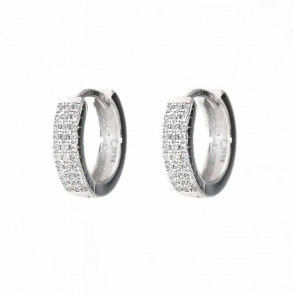 Boucles d'Oreille Rondes Zirconium Argent 925/1000