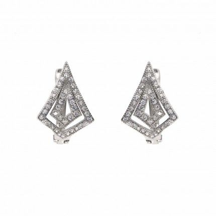 Boucles d'Oreille Losange Zirconium Argent 925/1000