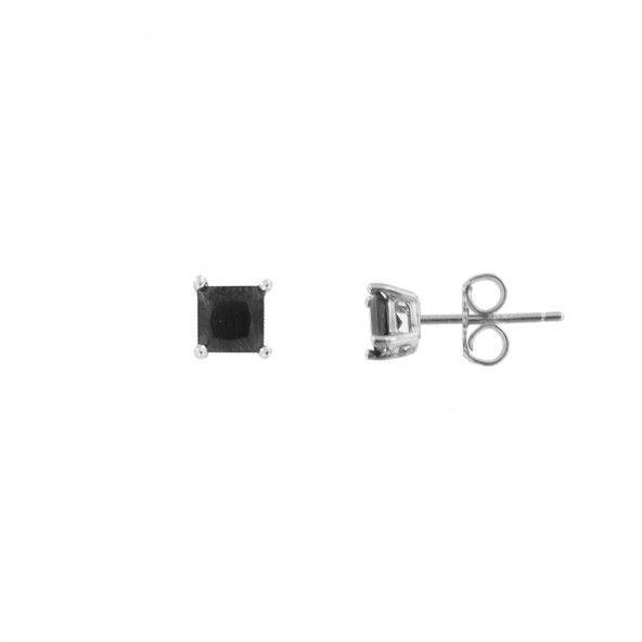 Boucles d'Oreilles Zircon Noir 4 mm Argent 925/1000