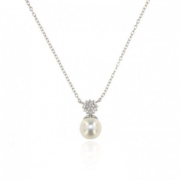 Collier Perle Zirconium Argent 925/1000