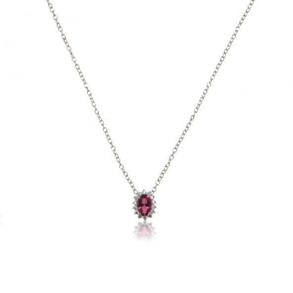 Collier Pierre Zirconium Rose Argent 925/1000