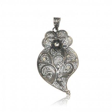 MJ Heart Aged Sterling Silver 925/1000 Pendant