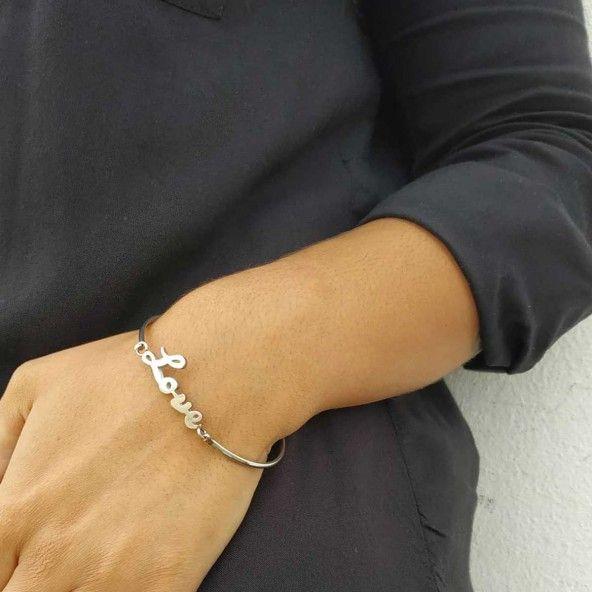Bracelet Rigide Love Acier