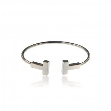 """MJ Stainless Steel """"T"""" ShapeRigid Bracelet"""