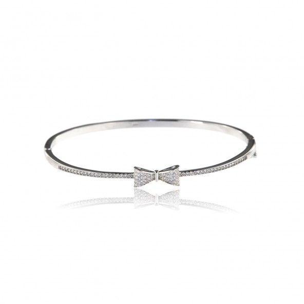 Bracelet Rigide Noeud Papillon Zirconium Argent 925/1000