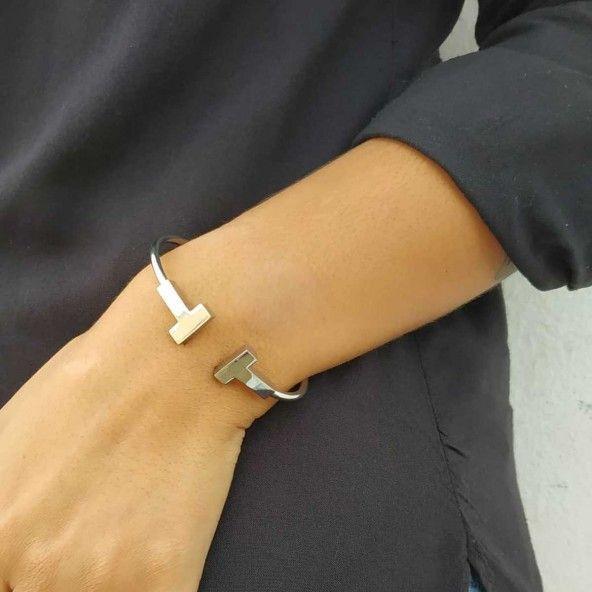 Bracelet Rigide Acier Ouverture en T