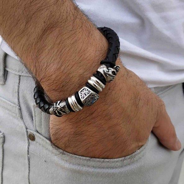 Bracelet Tête de Mort Acier et Cuire