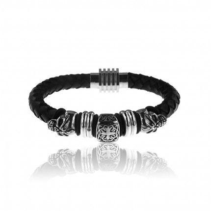 MJ Leather and Stainless Steel Skull Bracelet