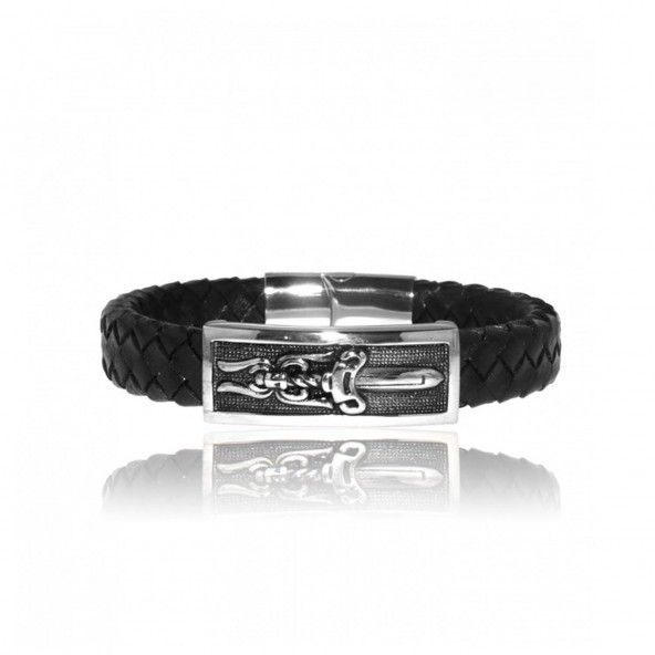 MJ Leather and Stainless Steel Sword Bracelet