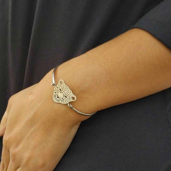 Bracelet Rigide Panthère Acier