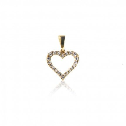 Gold 375/1000 pendant Zirconium heart shape MJ