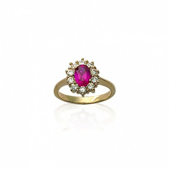 Gold plated Ring with Pink and White Zirconium