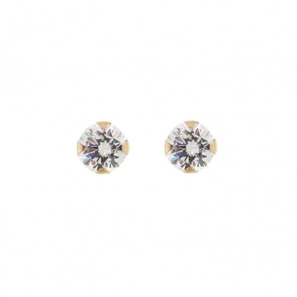 375/1000 Gold Solitary Earring With Zirconium 5mm.