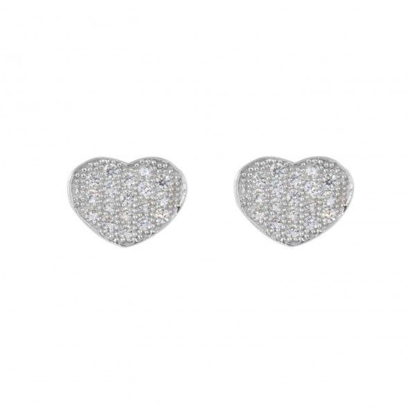 Boucles d'Oreilles Coeur Zircon Argent 925/1000
