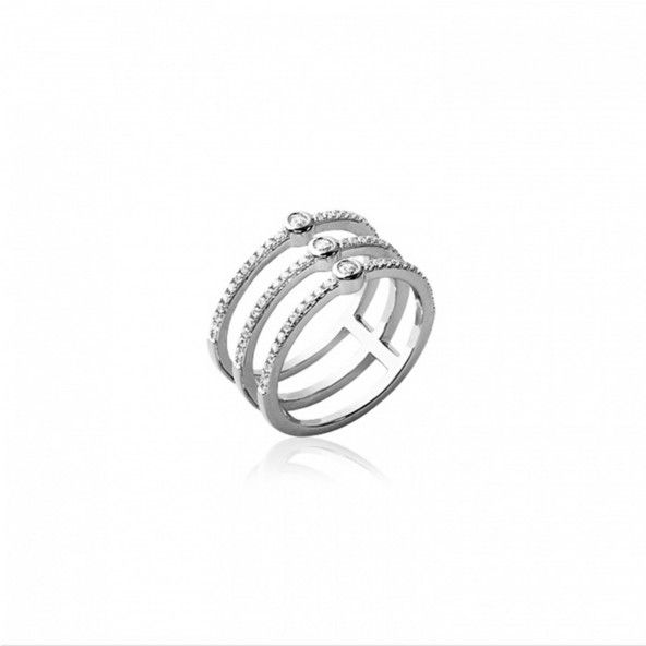 Sterling Silver 925/1000 Ring with 3 lines