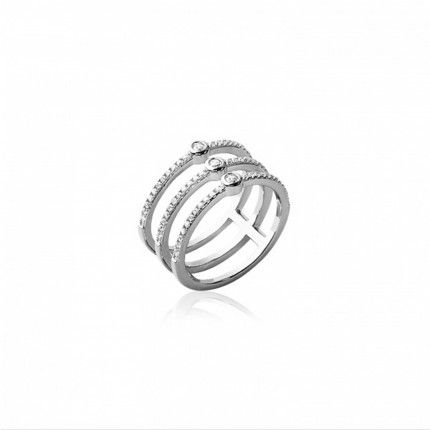 Sterling Silver 925/1000 MJ Ring with 3 lines