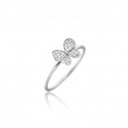 Sterling Silver 925/1000 Ring with Zirconium Butterfly