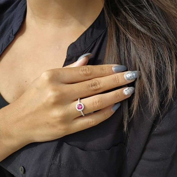 Sterling Silver 925/1000 Ring with Pink and White Zirconium
