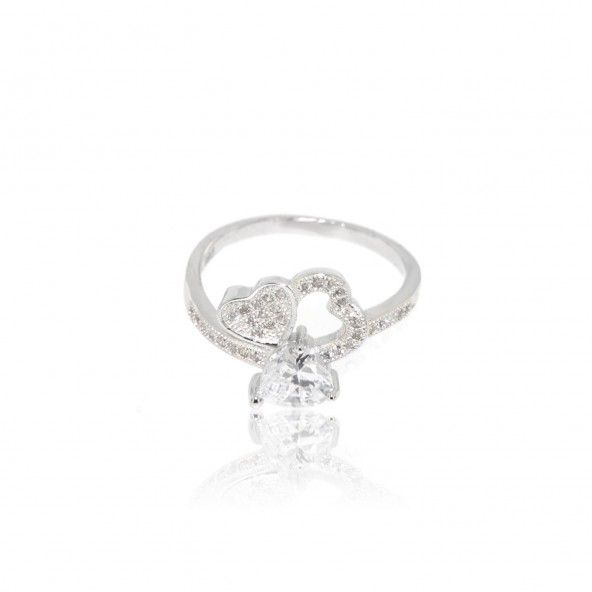 Sterling Silver 925/1000 Ring with differents Hearts Size