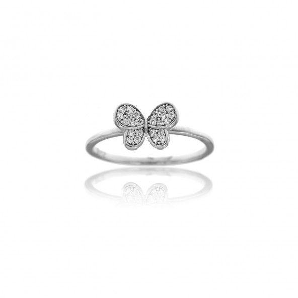 Bague Argent 925/1000 avec Anneau fin et petit papillon en Zircon