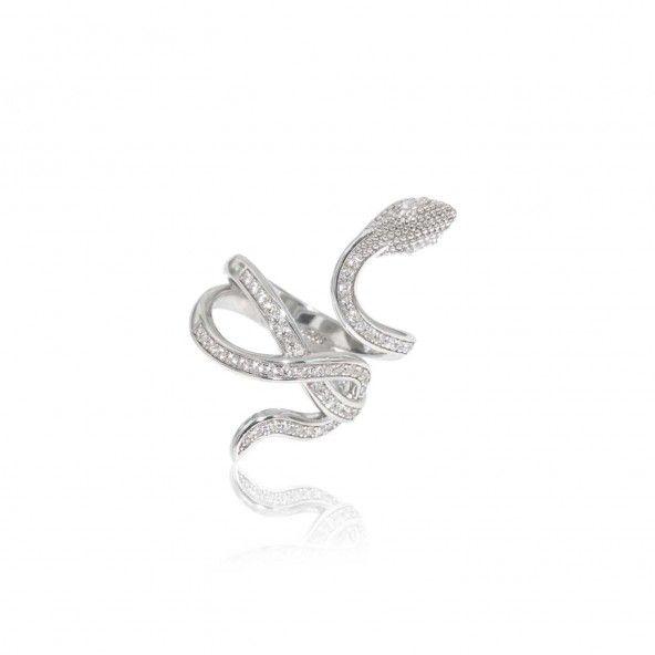 Snake Shaped Ring Sterling Silver 925/10000 Zirconium