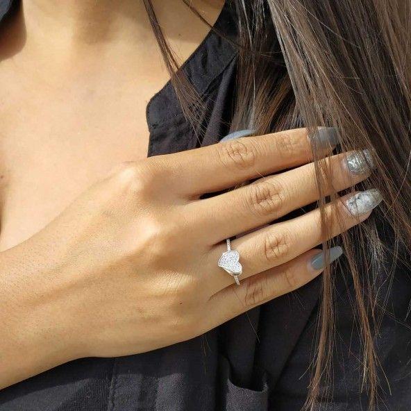 Heart Zirconium Sterling Silver 925/1000 Ring