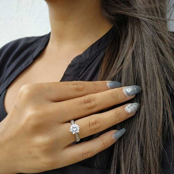 Zirconium Solitaire Sterling Silver 925/1000 Ring