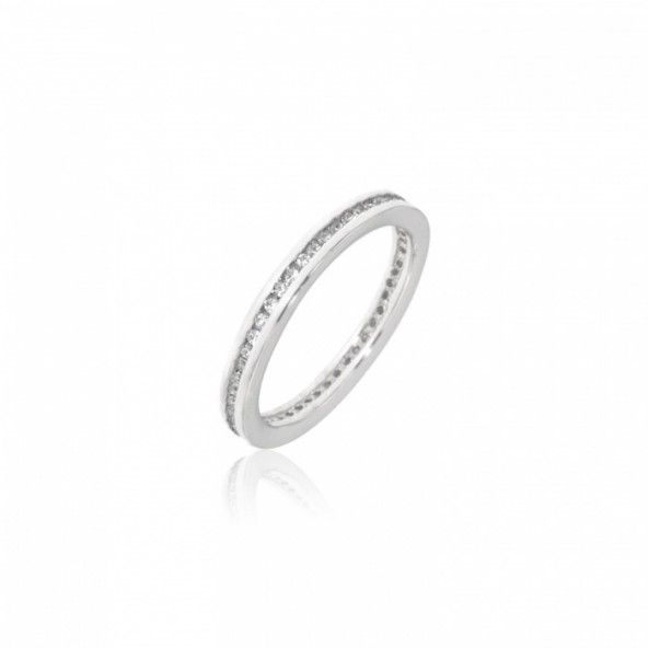 Sterling Silver 925/1000 Woman Ring with a line of Zirconium Stones