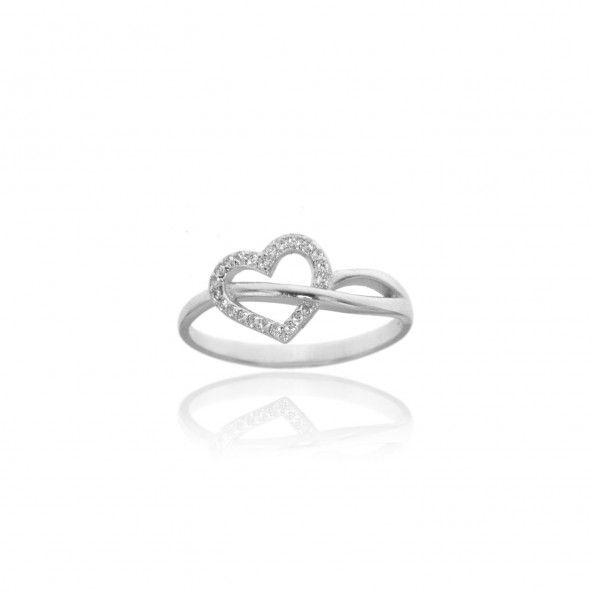 Bague Fine en Argent 925/1000 pour Femme avec Coeur en pierre Zircon