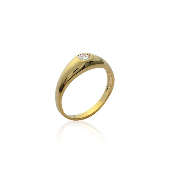 Gold Plated Ring with Solitaire Zirconium Stone