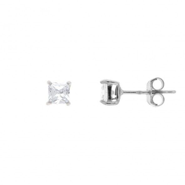 Boucles d'Oreilles Zircon  Carré 3 mm Argent 925/1000