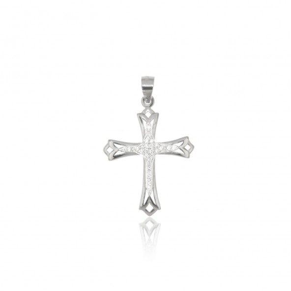 Cross Sterling Silver 925/1000 Pendant with Zirconium Stones