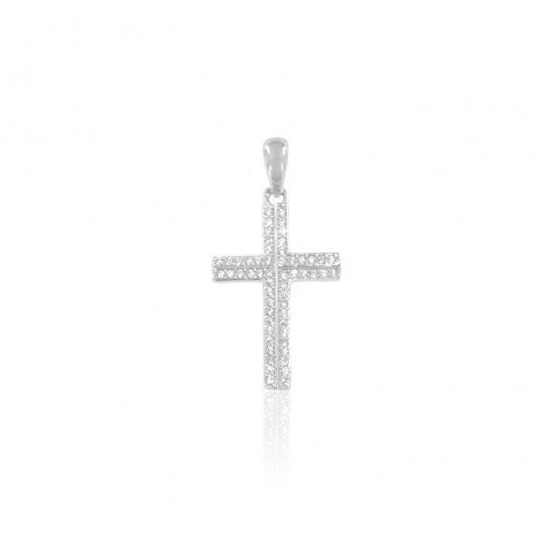 Cross Sterling Silver 925/1000 Pendant with 2 lines of Zirconium Stones