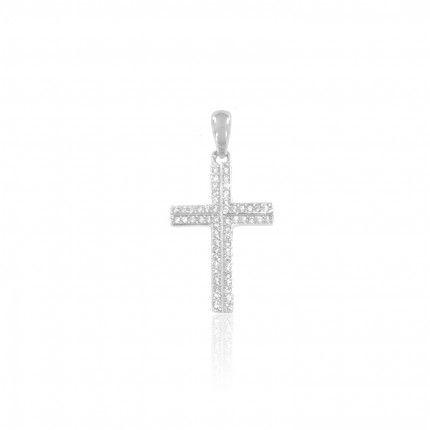 Pendente Prata 925/1000 Cruz Zircónias
