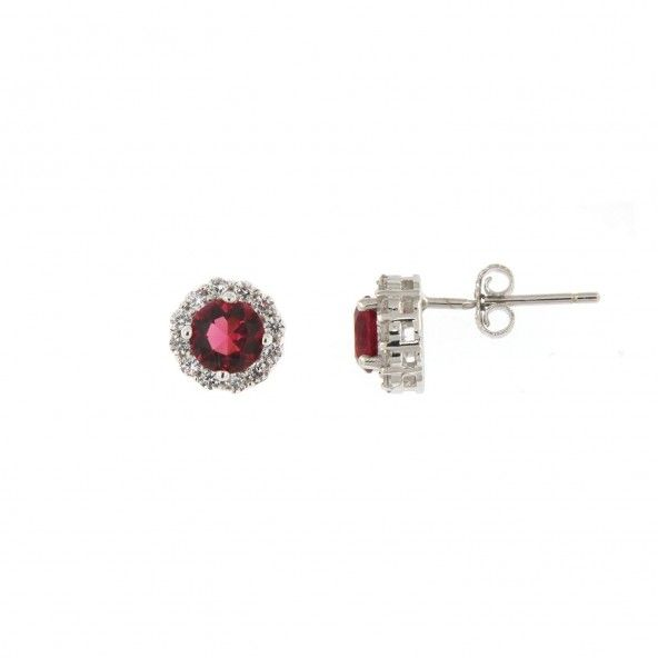 Pink Zirconium Solitaire Sterling Silver 925/1000 Earrings