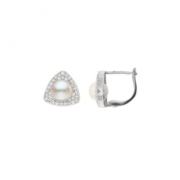 Boucles d'Oreilles Argent 925/1000 Pierre Zircon et Perle