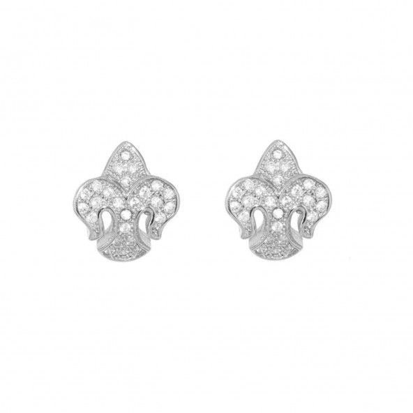 Boucles d'Oreilles Fleur de Lys en Argent 925/1000 avec Pierres Zircon