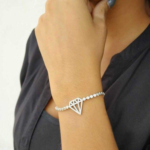 Bracelet Diamant Argent 925/1000 Zirconium