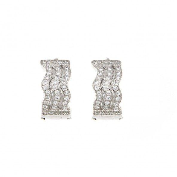 Sterling Silver 925/1000 Hoop Earrings with Zirconium