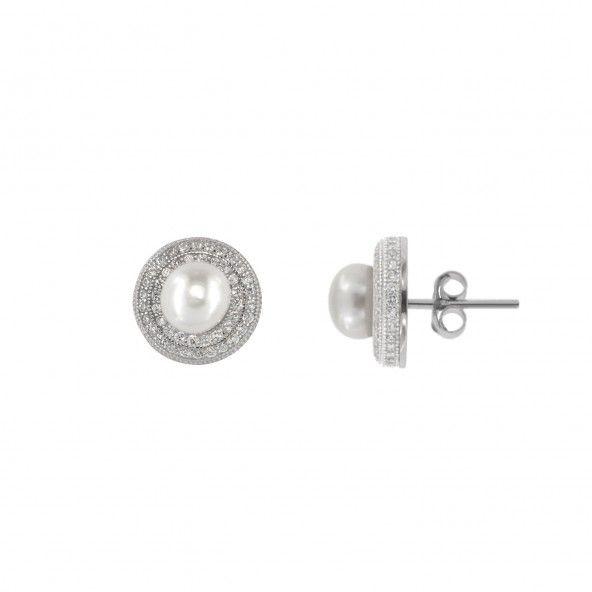 Boucles d?Oreille Perle Argent 925/1000 Zirconium
