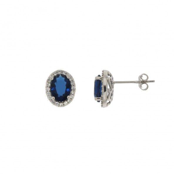 Boucles d?Oreille Oxyde Bleu Argent 925/1000